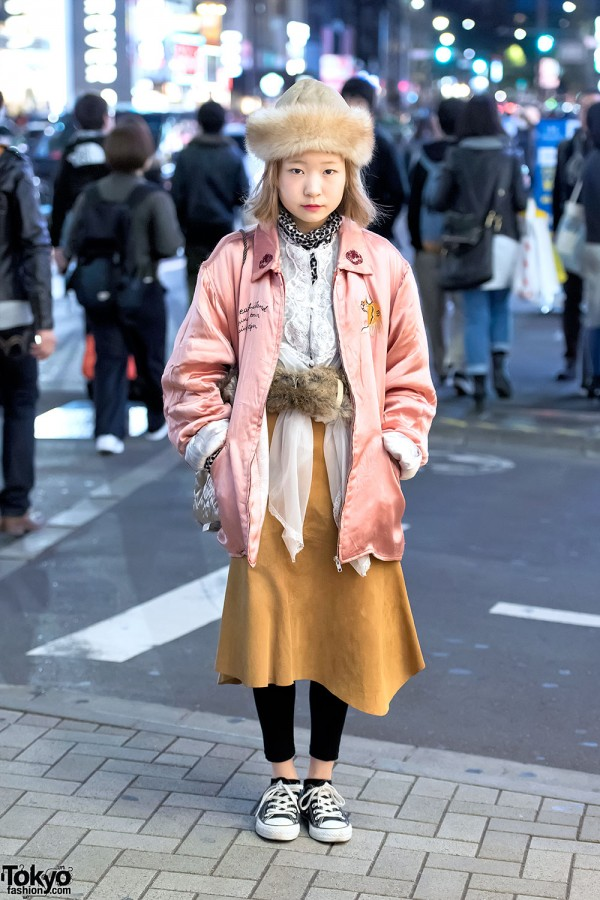 Harajuku Girl in Pink Tiger Sukajan, Suede Skirt, Theatre Products & Converse
