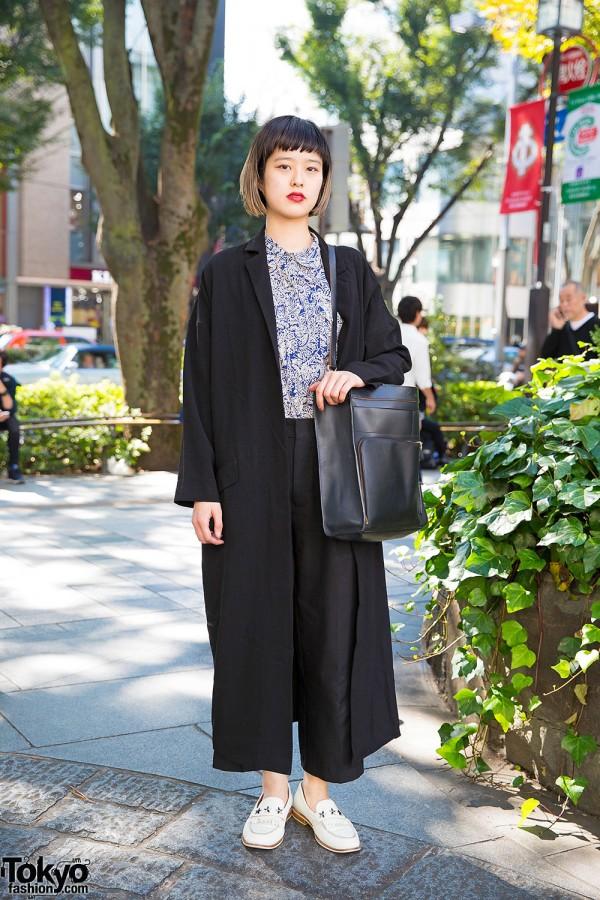 Black Maxi Coat, Ombre Hair, Agnes B., Kate Spade & Loafers in Harajuku