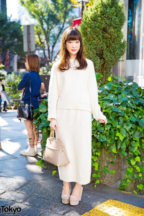 Harajuku Girl in United Arrows Knitwear Loewe Purse & Snidel Wedges