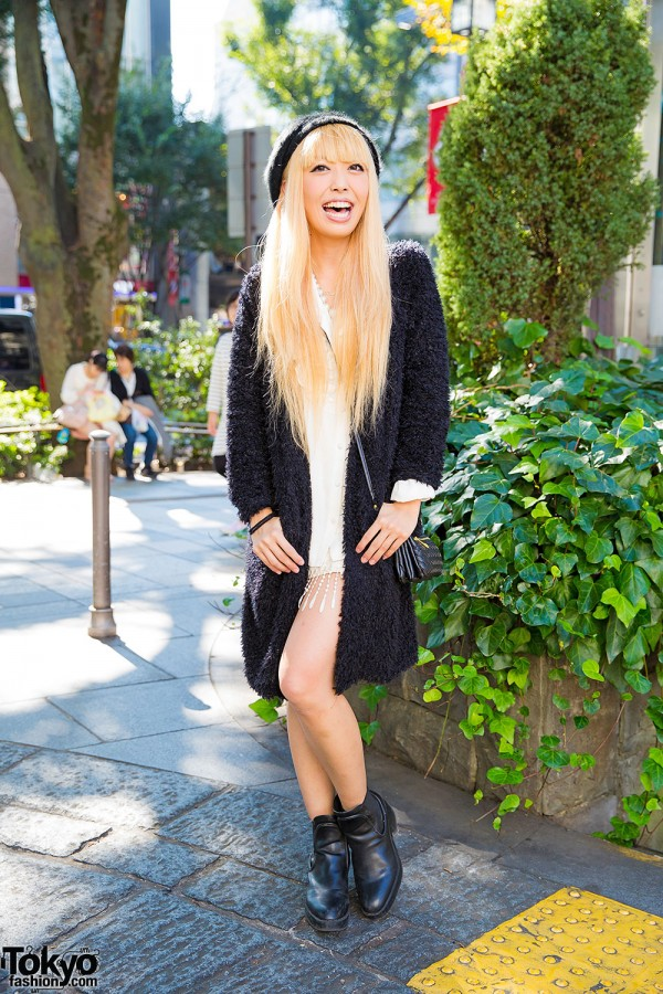 Harajuku Singer w/ Blonde Hair in Faux Fur Cardigan, Ankle Boots & Samantha Tiara Accessories