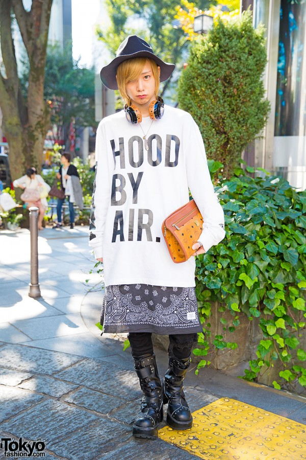 Harajuku Guy in Hood By Air, Bandana Skirt, Studded Boots & MCM Headphones