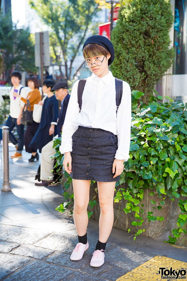 Harajuku Girl in Heather Mini Skirt & Glasses