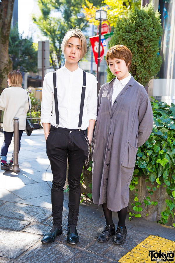 Harajuku Duo in Minimalist Styles w/ Suspenders, Maxi Coat & Oxfords