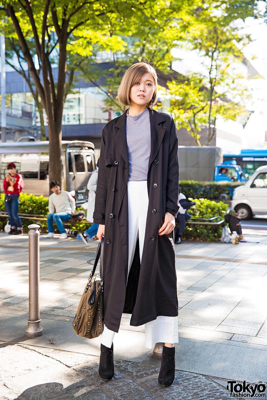 Harajuku Girl in Emoda Trench Coat, Diesel Bag & Zara Ankle Boots