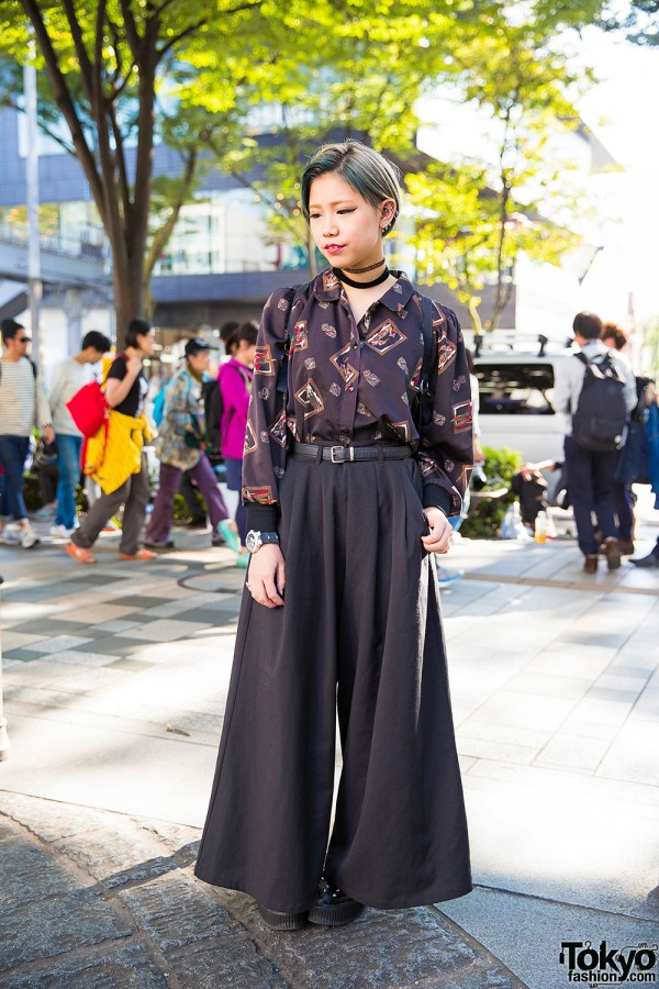 Harajuku Girl w/ Green Hair in Wide Leg Pants & Yosuke Studded Platforms
