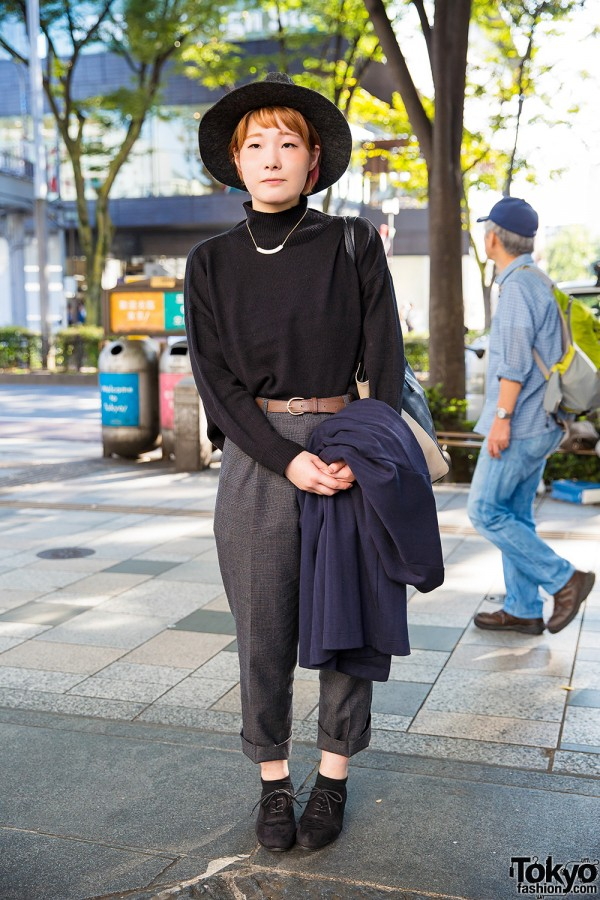 Harajuku Girl in Hat, Turtleneck, Retro Girl Jacket & Cropped Pants