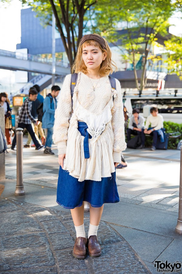 Harajuku Girl in Knits & Denim w/ Flamingo & Santa Monica Vintage Items