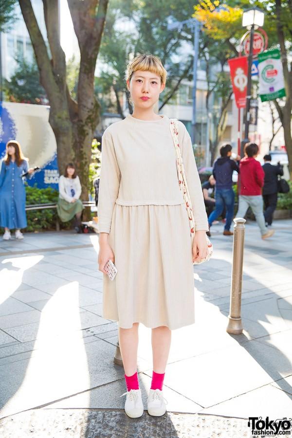 Harajuku Girl in Child Woman Dress, I am I Bag & Ben Simon Canvas Sneaker