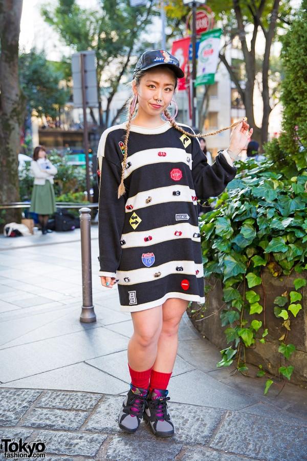 Harajuku Girl w/ Cap, Striped Pin Nap Dress, Nike Air Jordan 7 Sneakers & Nail Art
