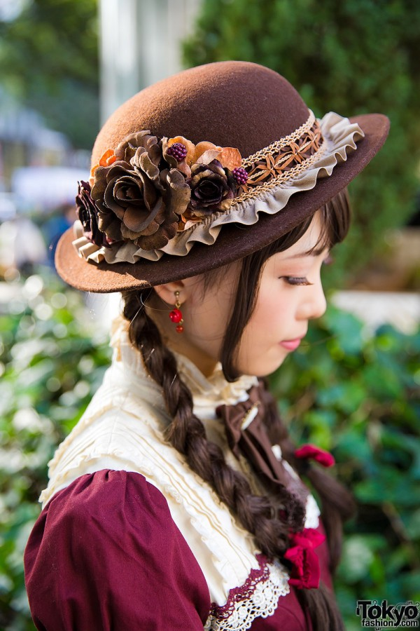 Hat with Floral Applique