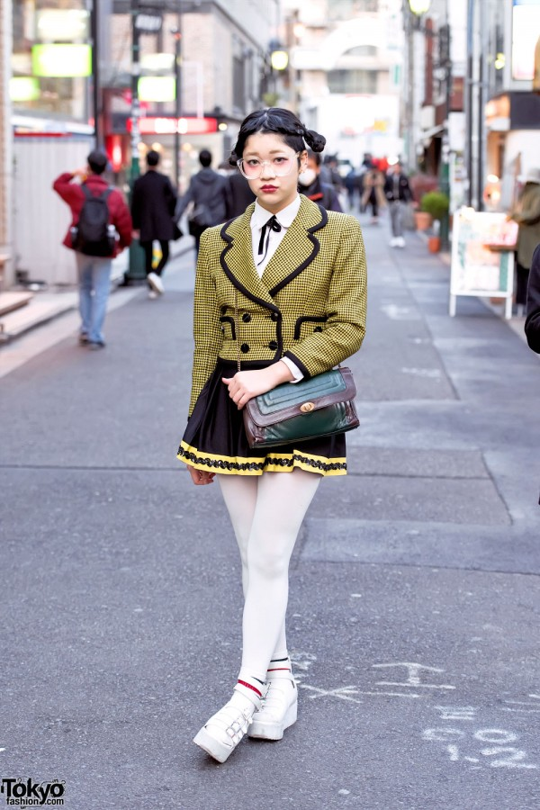 Harajuku Girl in Glasses w/ Yellow Houndstooth Jacket & YRU Sandals