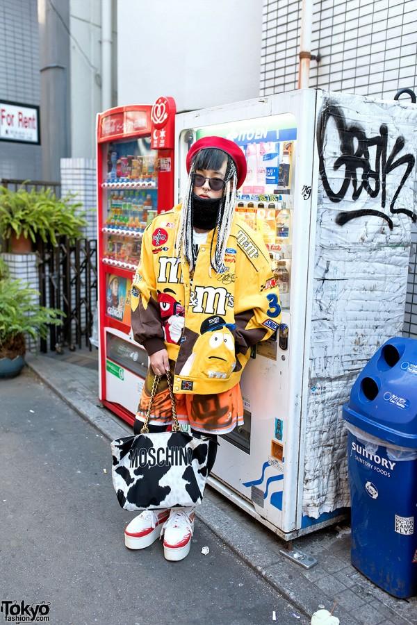 Harajuku Guy in M&M's Bomber Jacket, Thrift Store Underwear Socks, Platform Jordans & Moschino