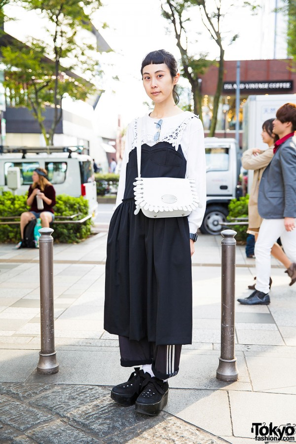 Vintage Top & Three Stripes Pants w/ Tokyo Bopper Bag & Shoes in Harajuku