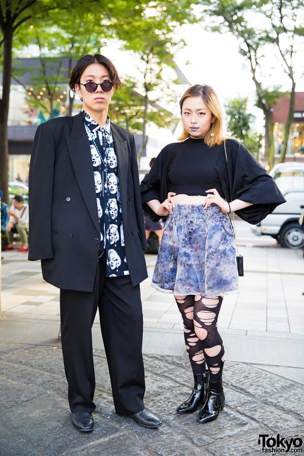 Draped Blazer & Marilyn Monroe Shirt vs Purple Lipstick & Ripped Tights in Harajuku