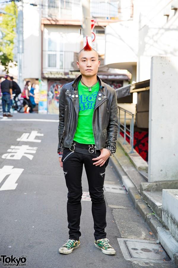 Harajuku Punk w/ Red Mohawk, Leather Jacket, BQ-Design, 666 & Converse