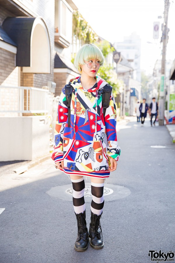 Harajuku Girl in Glasses, mercibeaucoup Hoodie, Over The Knee Socks, Dr. Martens Boots & 6%DokiDoki Accessories