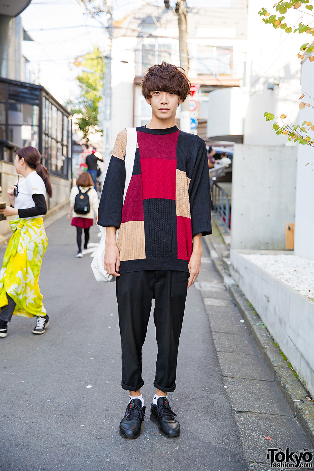 harajuku guy w business as usual patchwork sweater