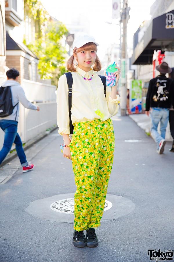 Harajuku Girl in Uniqlo Shirt, Lemon Print Pants, Backpack & Sneakers From Kinji