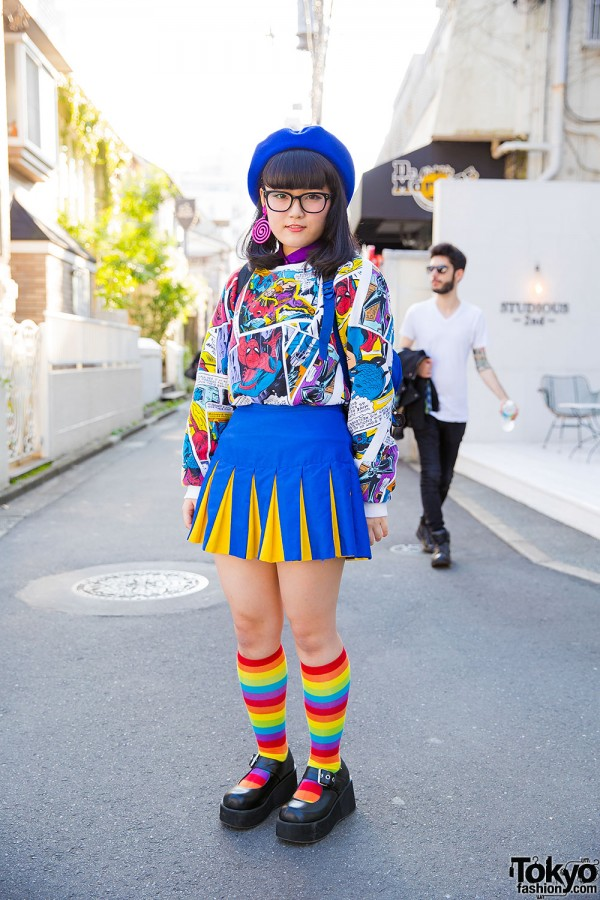 Harajuku Girl in Spider-Man Top, Cheeleader Skirt, Glasses & Beret