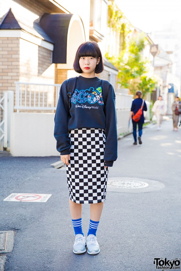 Disney World Sweatshirt & Checkered Skirt