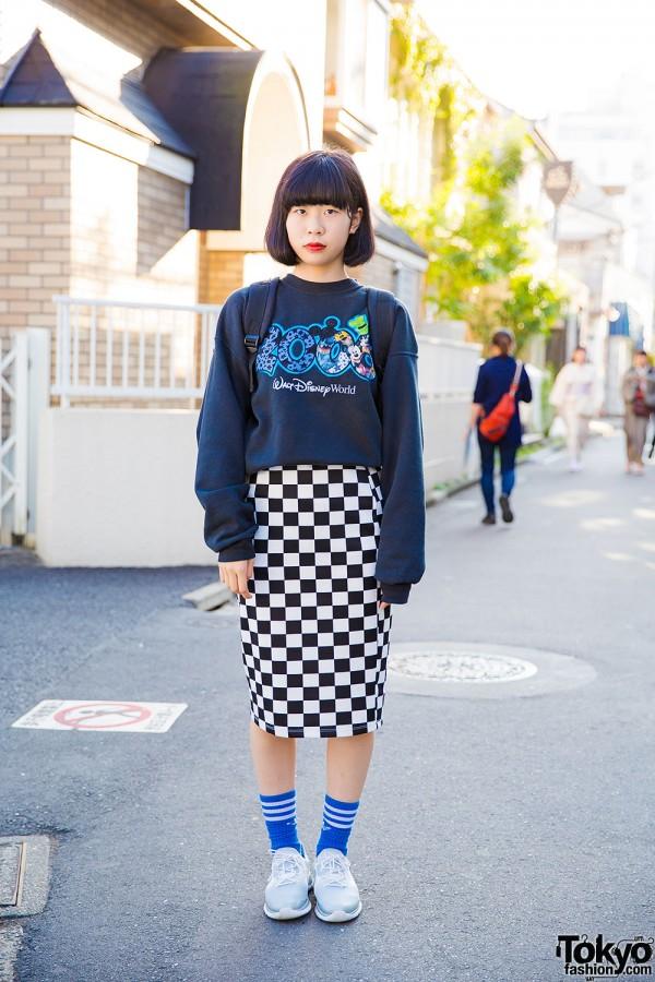 Disney World Sweatshirt, Checkered Midi Skirt & Reebok Pump Sneakers in Harajuku