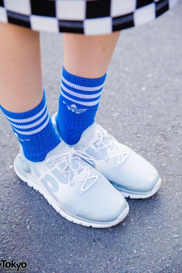 Reebok Pump Sneakers & Blue Adidas Socks