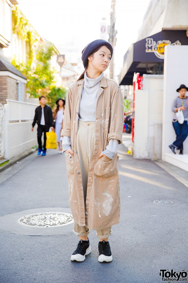 Harajuku Girl in Paint Splattered Coat, Yohji Yamamoto Pants & Edwina Hoerl Beanie