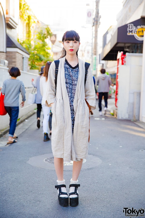 Harajuku Girl in Kanji Print Dress, Trench Coat & Platform Sandals