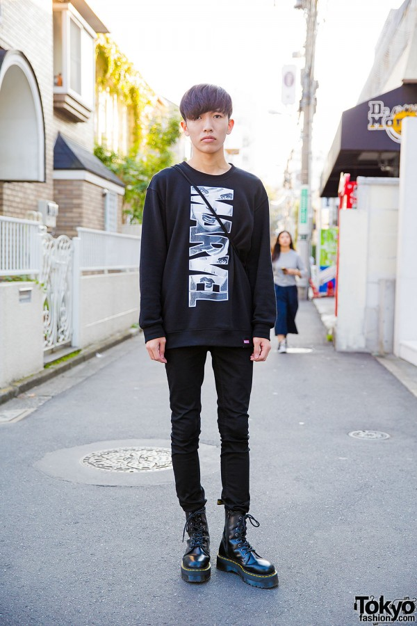 Marvel Comics x Boy London Sweatshirt, Skinny Jeans & Dr. Martens in Harajuku