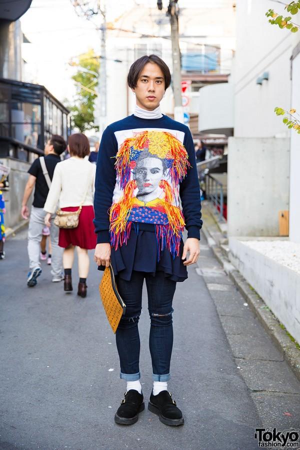 Yoshio Kubo Fringe Sweatshirt, MCM Clutch & Kids Love Gaite Shoes in Harajuku