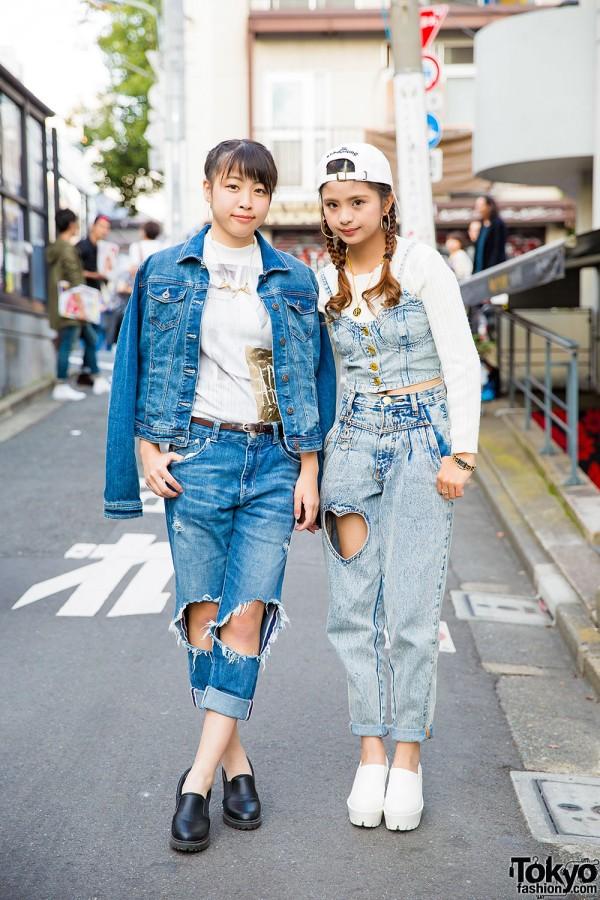 Harajuku Girls w/ Braided Hair in Denim Outfits w/ Fig&Viper, Bershka, Chanel, Zara & Sango Items