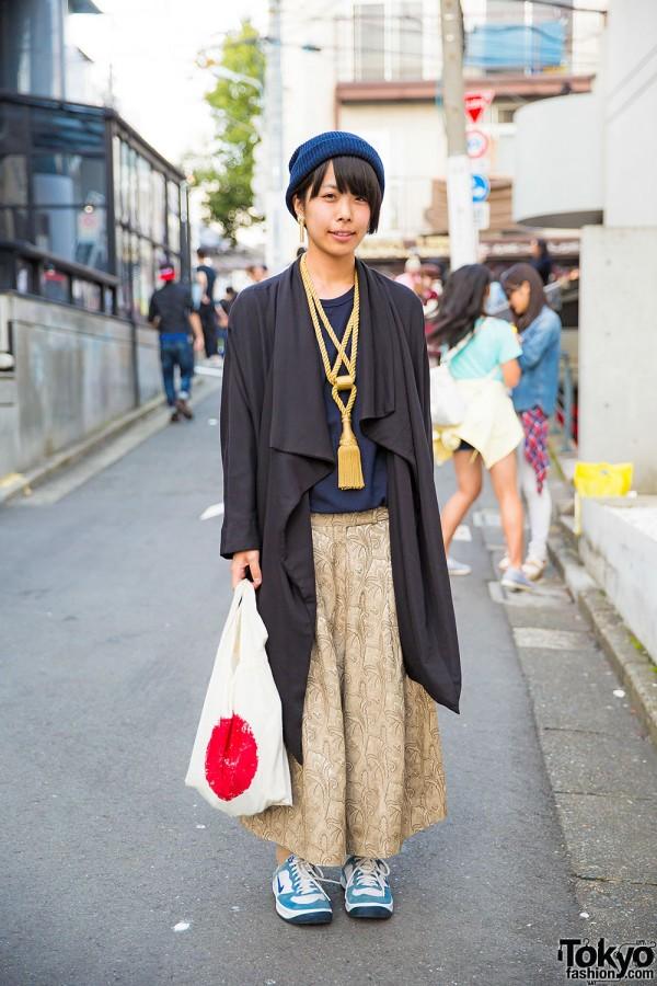 Harajuku Girl in Draped Jacket, Tassel Necklace & Japanese Flag Bag