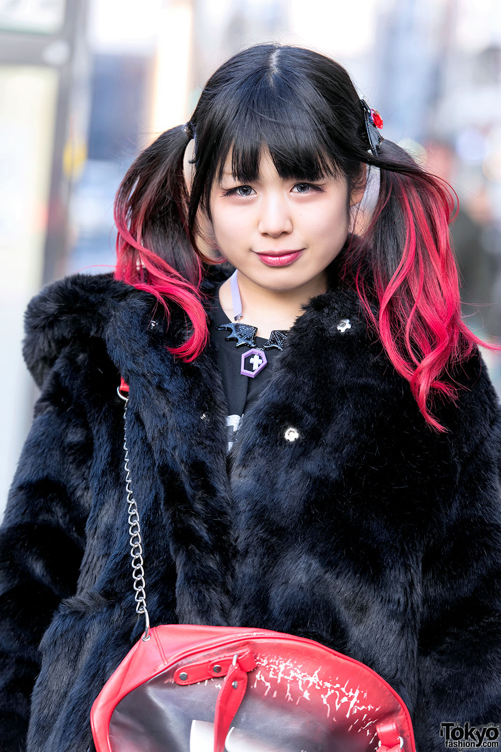 Dip Dye Twintails Candy Stripper Faux Fur Coat