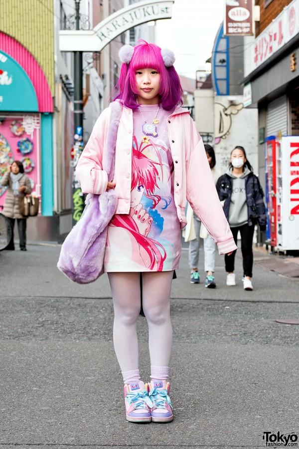 Pink-Purple Hair, Galaxxxy Papillon Rose Anime Dress & Plush Bag in Harajuku