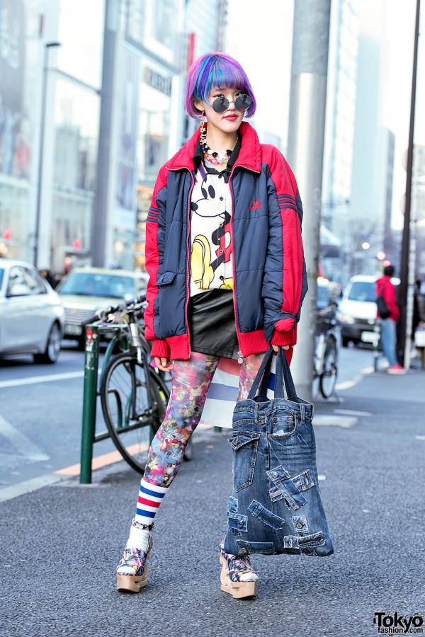 Rikarin in Harajuku w/ Pink-Purple Hair, Adidas Jacket, 6%DOKIDOKI & Jeffrey Campbell