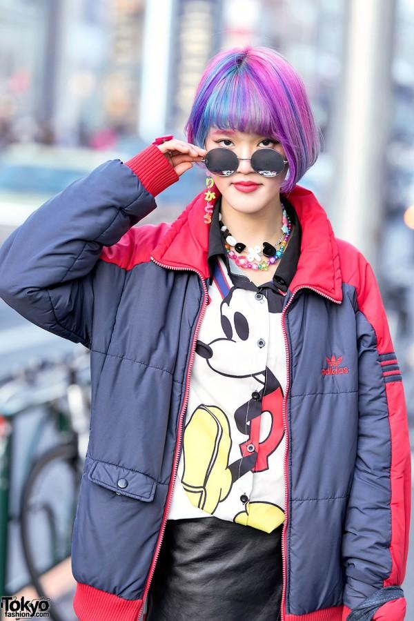 Harajuku Girl w/ Round Glasses & Adidas