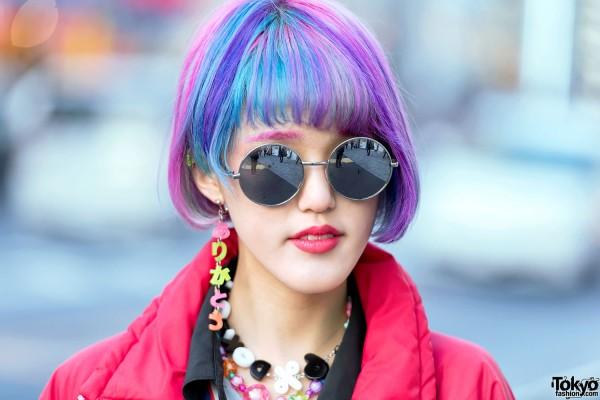 Pink-Purple Hair & Round Sunglasses