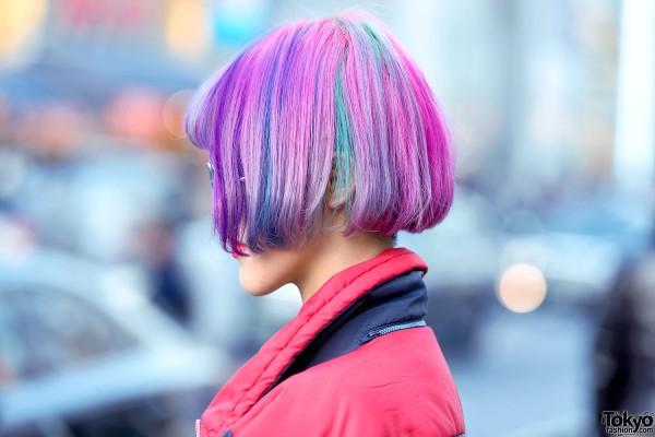 Pink Purple Bob Hairstyle