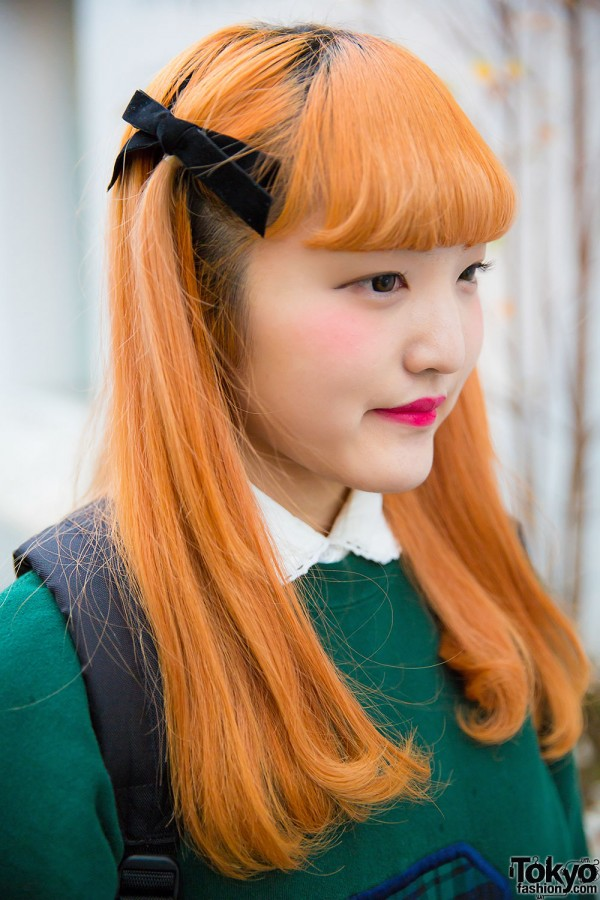 Harajuku Girl W Orange Hair Oversized Sweatshirt Plaid