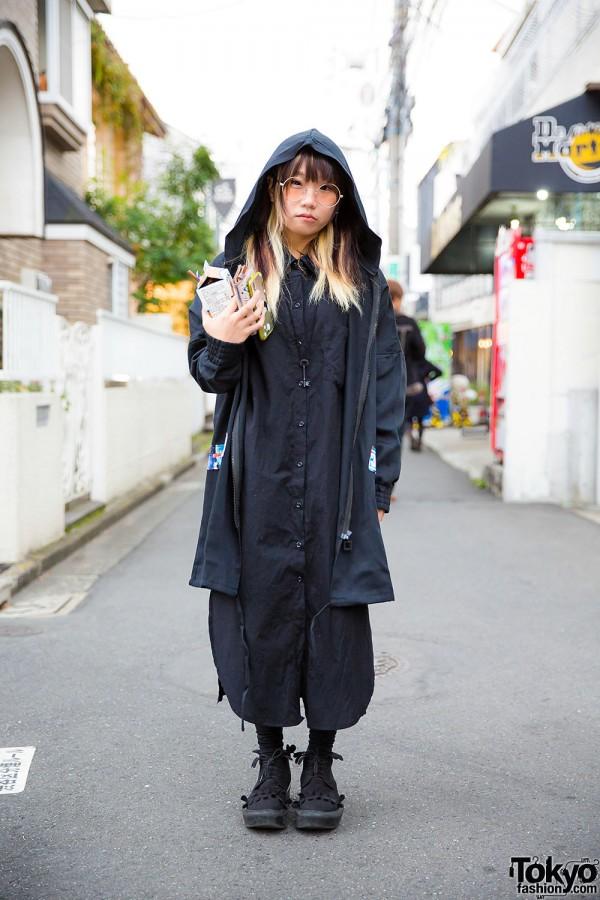 Harajuku Girl in Hooded Jacket, Spinns Dress & Tokyo Bopper Milk Crown Shoes