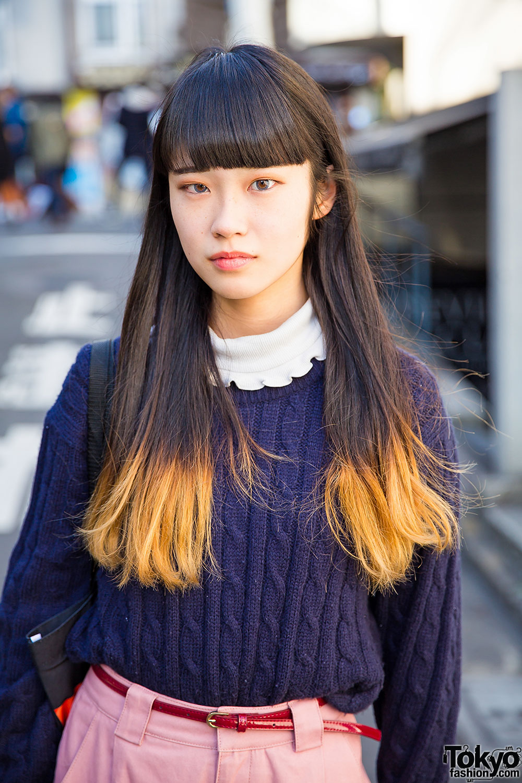 Harajuku Girl W Dip Dye Hair Amp Wide Pants Vs Guy In Ralph
