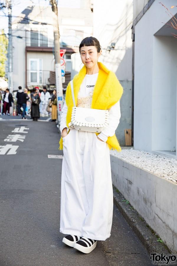 Harajuku Girl in White w/ Comme des Garcons, OTOE & Tokyo Bopper