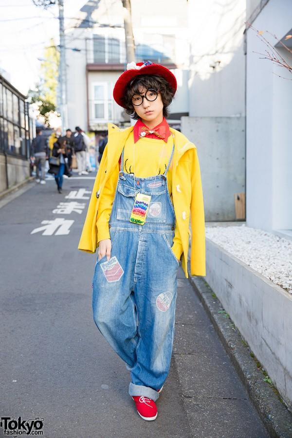 P from Tempura Kidz in Harajuku w/ Hat, Glasses, Bow Tie & Overalls
