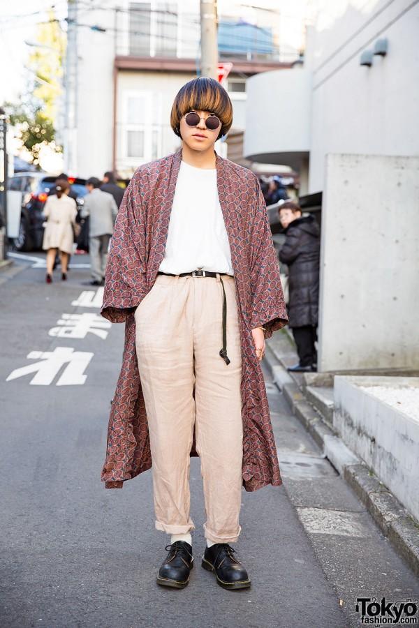 Harajuku Guy in Resale Fashion w/ Long Coat & Dr. Martens Shoes