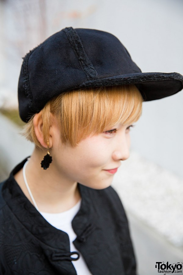 Blond Girl with Black Cap