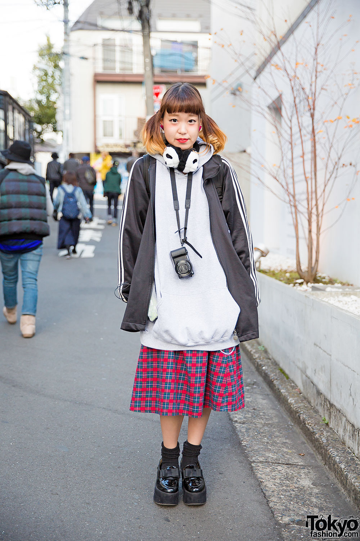 Panda Ear Muffs Oversized Hoodie Plaid Skirt Amp Loafers