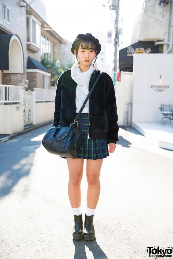 Harajuku Girl in Plaid Skirt & Beret