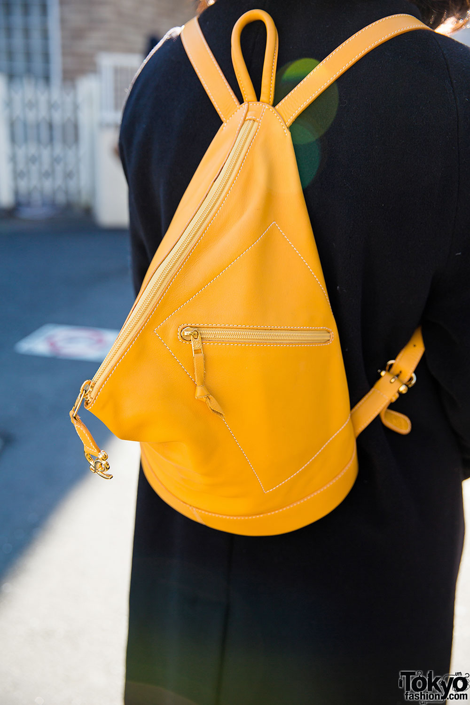 Harajuku Girl In Black Maxi Coat Loewe Backpack Amp Sankaku