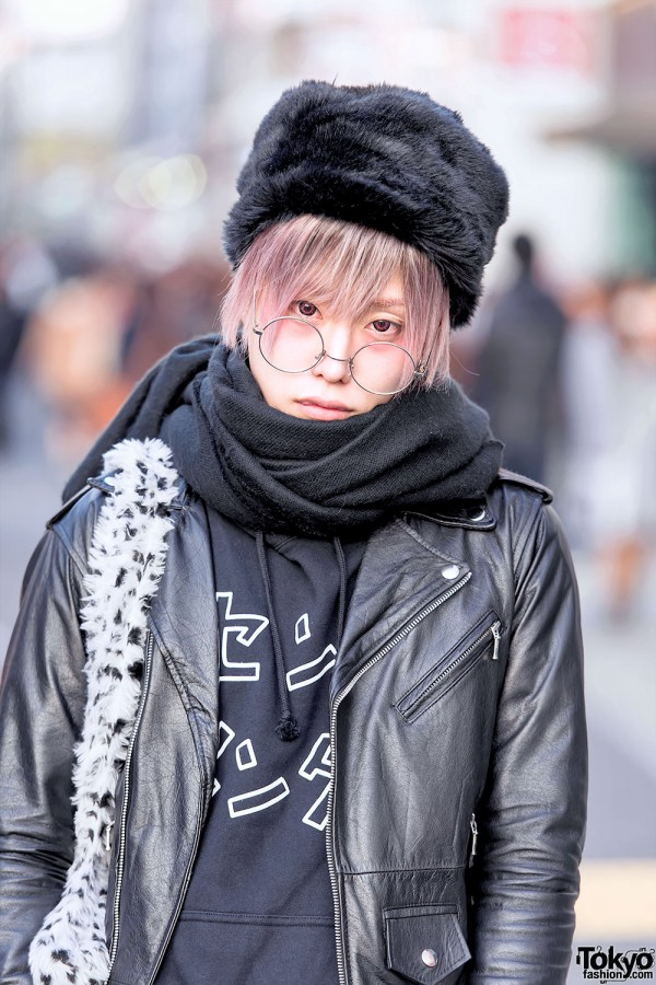 Scarf, Winter Hat & Leather Jacket in Harajuku