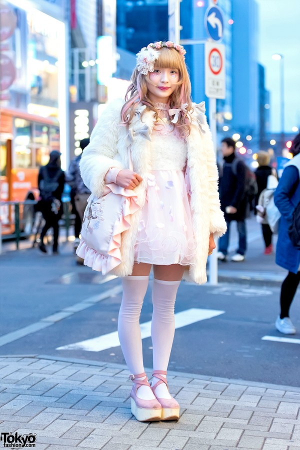 Pastel Harajuku Street Fashion W Swankiss Dress Flower Crown Cute Cat Bag